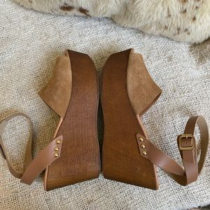Seychelles brown suede wedge sandals with open toe